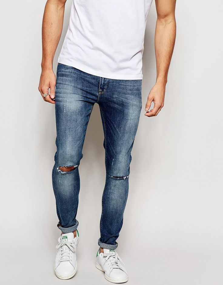 Image 1 ofASOS Super Skinny Jeans With Knee Rips
