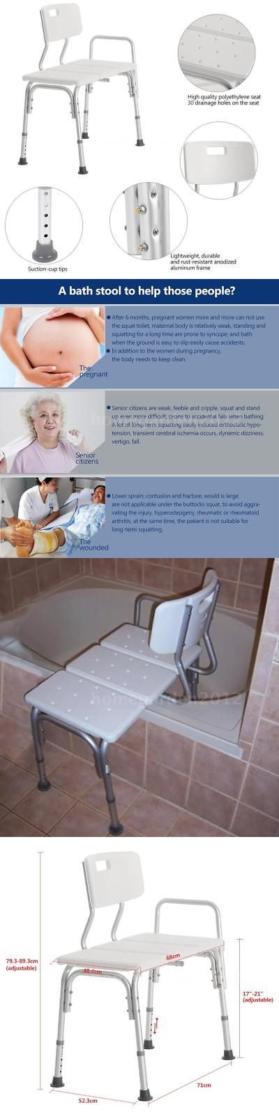 Transfer Boards and Benches: Shower Seat Medical Adjustable Bath Tub Transfer Bench Stool Chair White H8j4 -> BUY IT NOW ONLY: $48.89 on eBay!