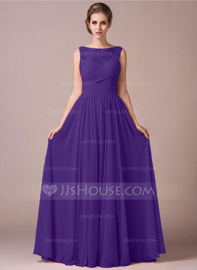 A-Line/Princess Scoop Neck Floor-Length Chiffon Lace Bridesmaid Dress With Ruffle (007057702)
