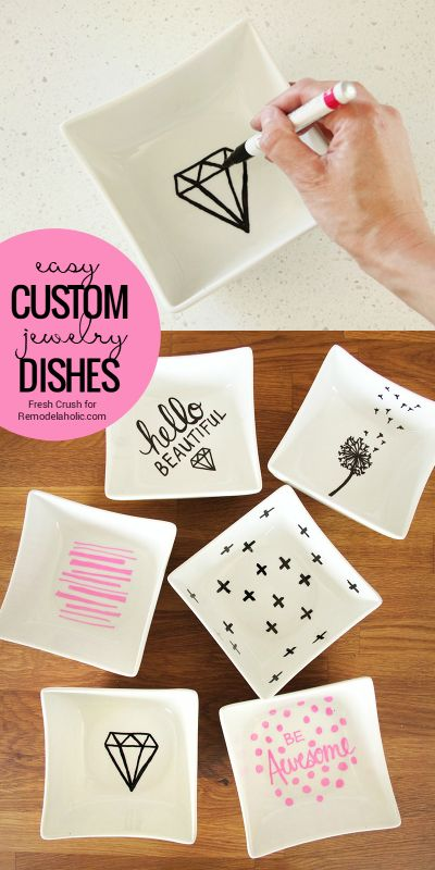 These custom jewelry dishes are so easy to make, and they'll make great gifts! Perfect for organizing small bathroom items in a drawer, or for jewelry on a vanity or nightstand. Tutorial from Fresh Crush on Remodelaholic.com