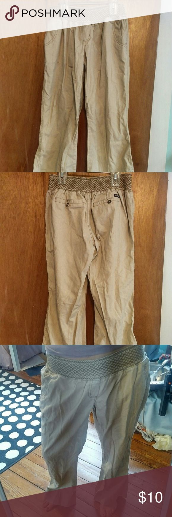 KHAKI COLORED, VERY COMFORTABLE PANTS, size L KHAKI COLORED, VERY COMFORTABLE PANTS, WITH STRETCHY WAIST BAND, FROM MACYS. *OBVIOUSLY IN DESPERATE NEED OF IRONING!! **will IRON before shipping to buyer!!!!** Pants are SIZE LARGE (I think Juniors). I wear a size 0, so they are REALLY baggy on me, but SUPER COMFORTABLE. I think I wore them once. GREAT CONDITION. Rewash Pants Trousers