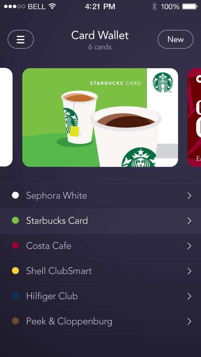 starbucks app: card style list view