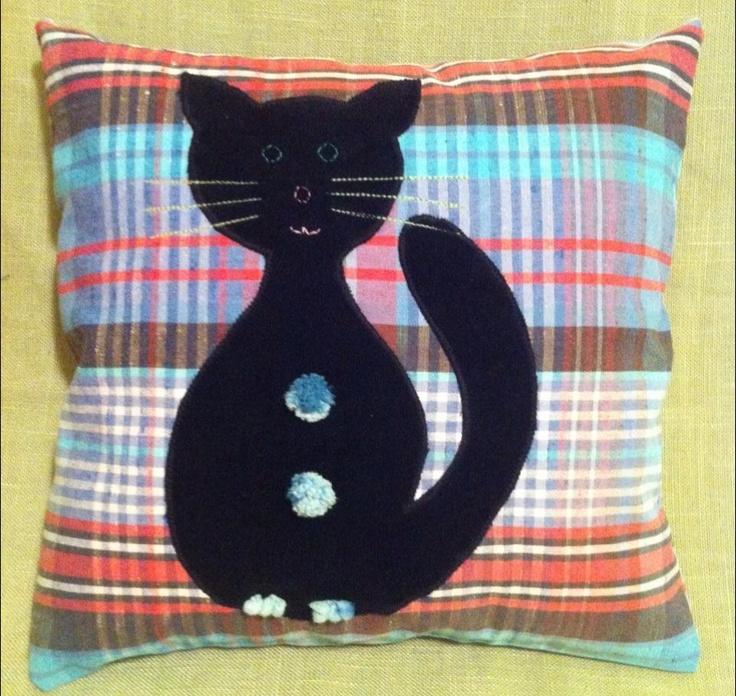 Happy Pillow- Black velvet cat- handmade pillow  35x35 cm  Order at: happy_pillows@yahoo.com