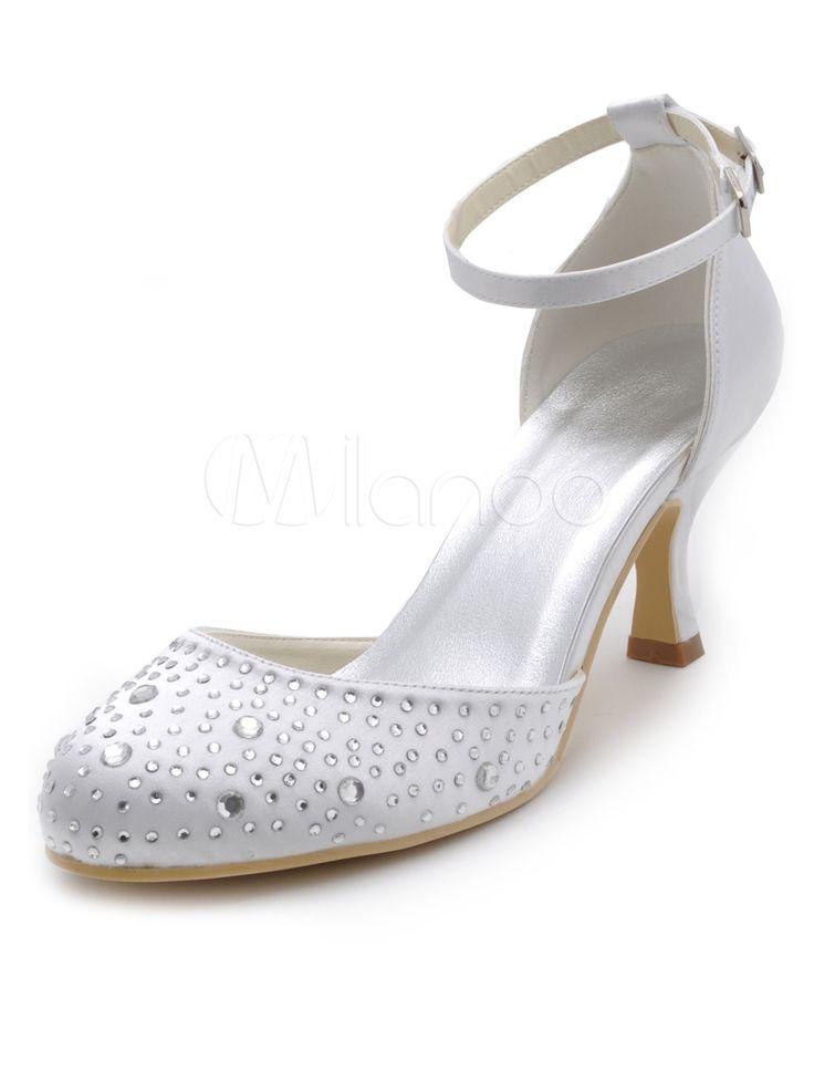 Cinta de tornozelo branco strass redondo Toe seda e cetim bombas para noivas - Milanoo.com