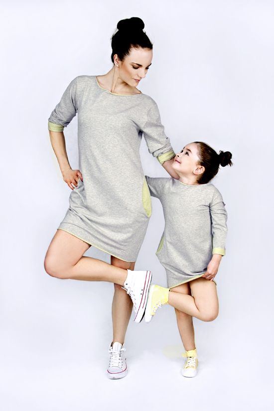 Matching mommy and me matchingoutfits :) The Same sweatshirt dress with lime mother daughter set www.thesame.eu