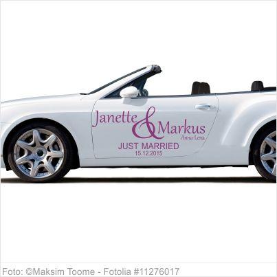 Autoaufkleber Hochzeit - Just Married mit Vornamen 01