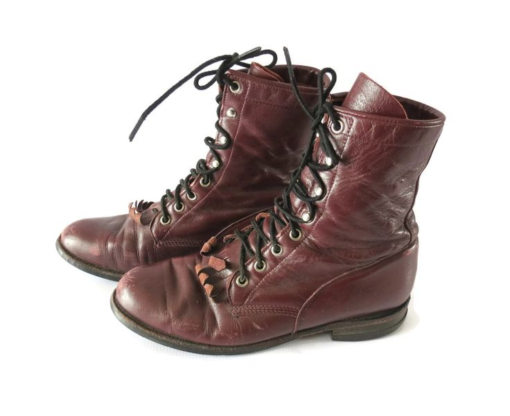 Justin Roper Boots Burgundy Leather Lace Up Western Combat Boot Mens 7.5 Womens 9 Unisex Grunge 80s 90s Shoes Kiltie Fringe by GoodLuxeVintage on Etsy