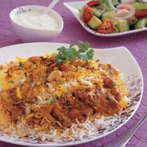Recipe - Kuwaiti Chicken Biryani - Place rice, and water in a medium saucepan and cook with stirring until it boils. Cover and simmer for 15 minutes or until rice is cooked.