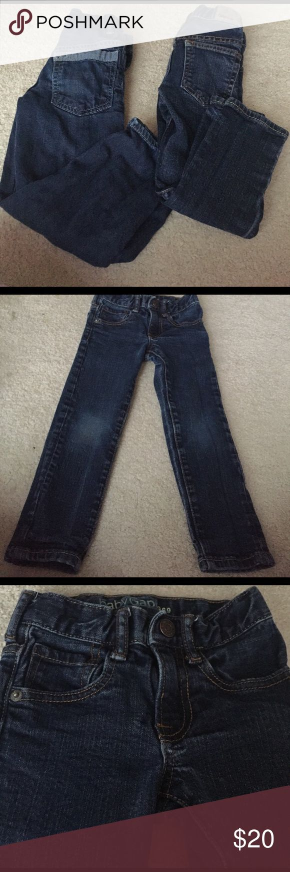 Baby Gap size 4 skinny and 2 toned pocket jeans. Baby Gap size 4 skinny and 2 toned pocket jeans.  I believed the 2 toned pocket jeans are relaxed fit, but it doesn't say on them. They are soft and comfy though. My son loved them. The skinnies are great for slender boys. Baby Gap Bottoms Jeans
