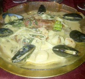 Seafood Alfredo with Proscuitto wrapped Asparagus