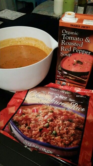 So easy and delicious! Just mix Chimichurri Rice and Tomato and Roasted Bell Pepper Soup from Trader Joes and you'll have a tasty and flavorful soup!