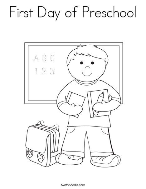 first day of preschool coloring page twisty noodle - Coloring Pages For Toddlers Preschool And Kindergarten