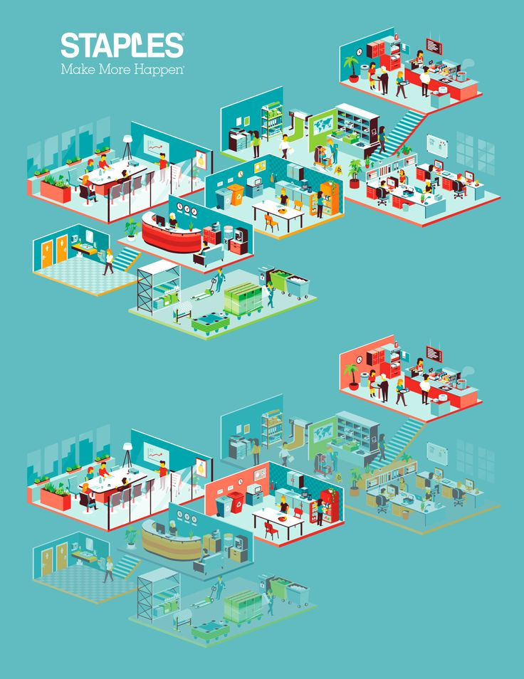 Isometric office illustration for the new Staples brochures.Artdirection by Koeweiden Postma