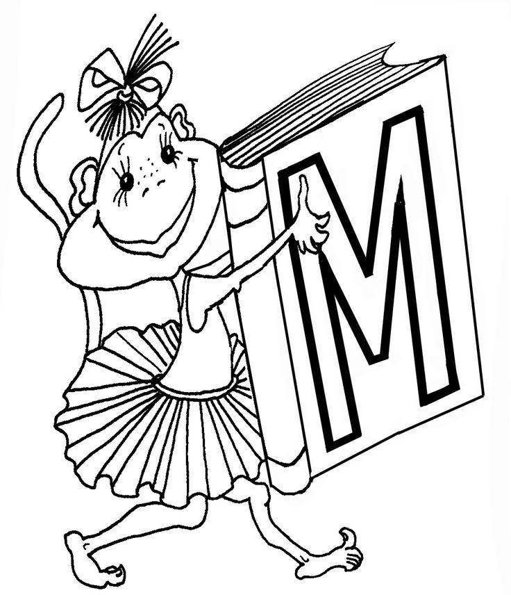 Шла мартышка в гости к мышке.  Что несла она под мышкой?  Может, плюшевого мишку?  Букву М в нарядной книжке.    Вопросы и задания  - Как ты думаешь, зачем мишке нужна буква М?  - Что еще на букву М больше сего любит кушать мишка ?