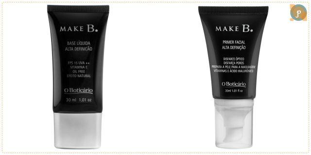 Base líquida Boticário, leve e oil free, corrige e melhora a aparência da pele, minimizando imperfeições e trazendo uma tonalidade uniforme e sem brilho. O primer é usado na preparação da pele para a maquiagem. Ele forma um filme invisível sobre a pele do rosto, minimiza os poros abertos e mantém a base intacta durante todo o dia. Quanto: R$51,99 e R$61,99 respectivamente.