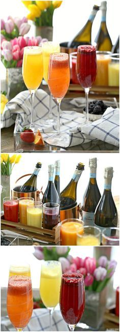 Homemade Bellini Bar made easy with fruit purees and Prosecco! You can use sparkling water for a tasty non-alcoholic brunch or breakfast. So fun and tasty!