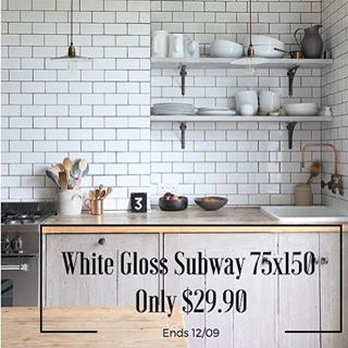 We love subway tiles here at @design_tiles and until Monday our white gloss subway tile (52000) 75x150 tile will be only $29.90 as part of our Spring clear out sale! To order please give us a ring on 02 9567 8971! #whiteglosssubway #subwaytile #tiles #designtilesrockdale #interiordesign #whitesubwaytile