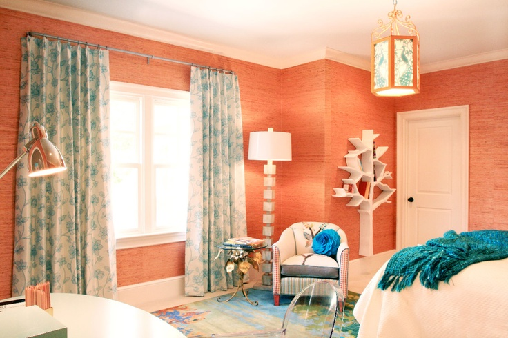 Orange and blue for the bedroom, but a darker blue