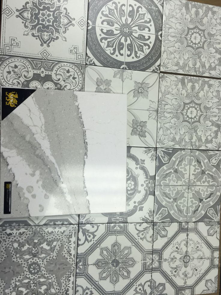 Marrakech 8x8 grey matte tile with Cambria Quartz counter top Brittanica