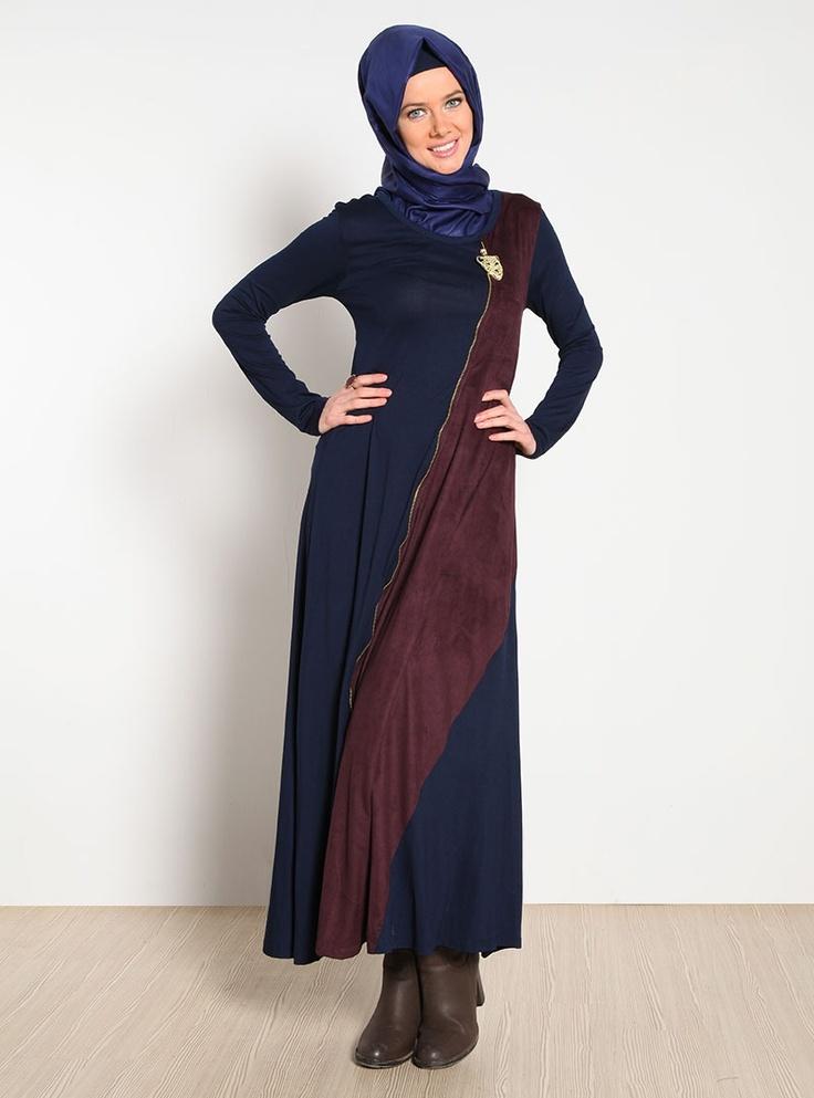 Fermuar Süslü Elbise 6212 - Bordo