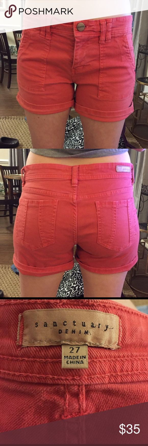 Sanctuary Denim Coral shorts Sanctuary Denim Coral shorts. Size 27. Can be worn rolled up or not. Stretchy fit. Worn only a few times! sanctuary denim Shorts