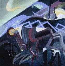 Julius Evola, (astrazione - paesaggio), 1919 ca.