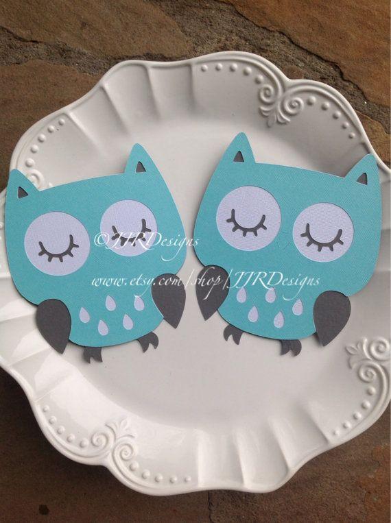 Aqua and Grey Owl Baby Shower Decor - owl cutouts