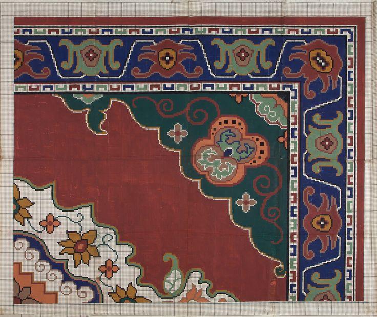 "Carpet Design ""1513,d"" by Peters, Mechanische Tapijtweverij H.J., 1948. Deventer Musea, CC BY-SA"