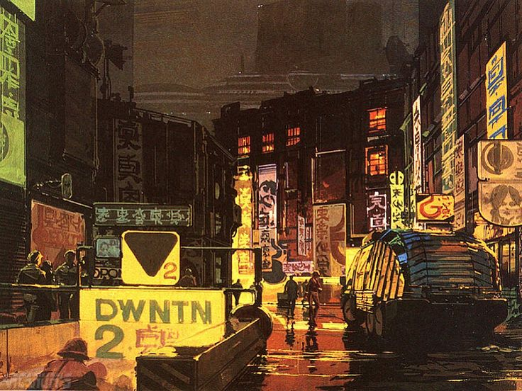 Syd Mead's concept artwork for Blade Runner. There is something so magicle is this classic scifi film directed by Ridley Scott