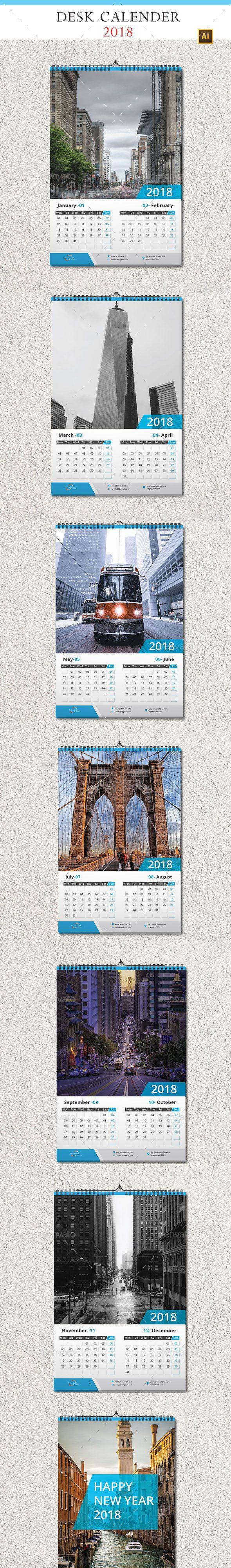 Wall Calendar 2018 - #Calendars #Stationery Download here: https://graphicriver.net/item/wall-calendar-2018/20041844?ref=alena994