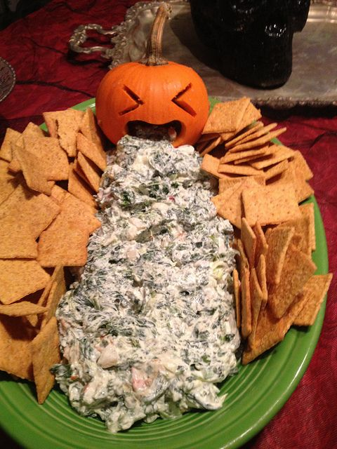Okay, this is totally gross, which is what makes it perfect for your 'tween's Halloween party, says HowToConsign.org Spinach and artichoke dip!