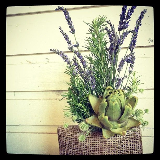 "@Louise Taylor Smith's photo: ""Adorable little accent for @theflyingpiggastown hostess stand.  #local #rosemary #lavender #artichoke #howappropriate #gastown #florist #vancouver"""