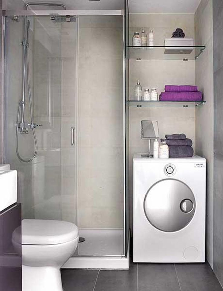 Bathroom Ideas Gray Wall Paint White Washer Machine Glass Towelshelving Shower Cabin Partition Walls Toilet Showerhead Black Small Wooden Vanity Modern Small Bathroom Design Ideas