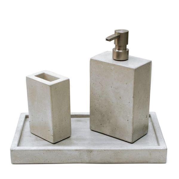 customized concrete home decor resin stone bathroom accessory sets