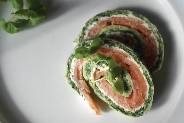 Opskrift - Grøn Lakseroulade (med billede)