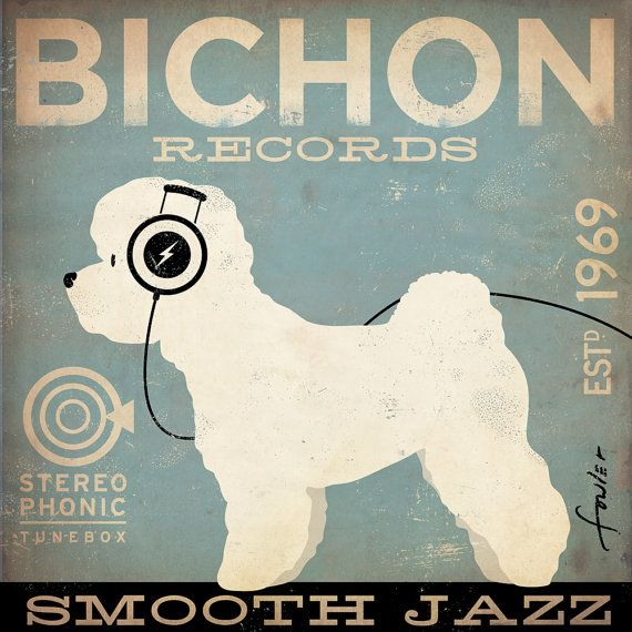 Bichon Frise records original illustration giclee archival signed print by stephen fowler Pick A Size on Etsy, $24.00
