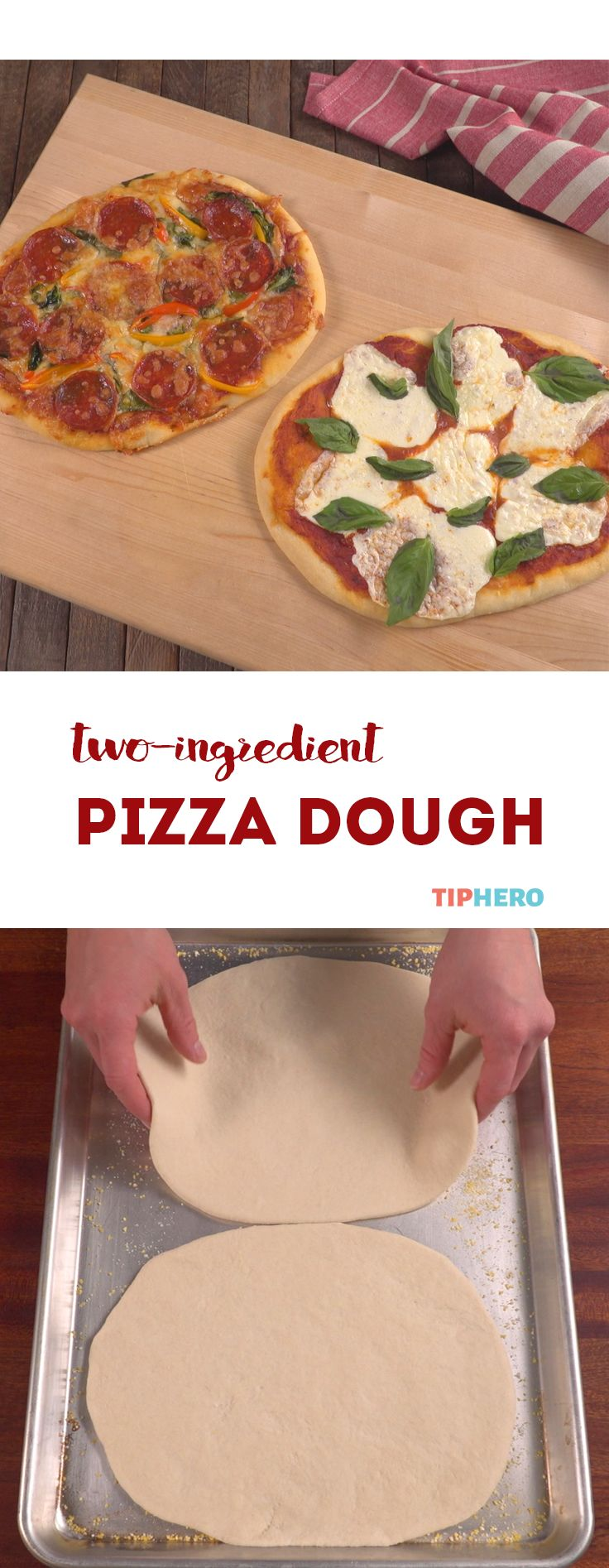 Yes, you read that correctly— pizza dough out of only two ingredients! It's almost like magic, and you can whip it up and bake it in under an hour. However you like to top your pizzas, this crust is the perfect easy base. Grab some Greek yogurt, grab some self-rising flour, and watch how it's made!