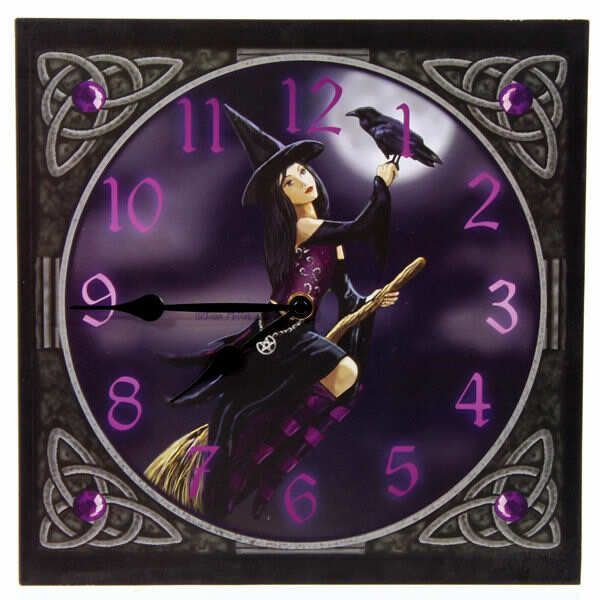 Purple Witch On Broomstick Clock - $38.00 http://newagecave.com/index.php?main_page=product_info&cPath=47&products_id=134