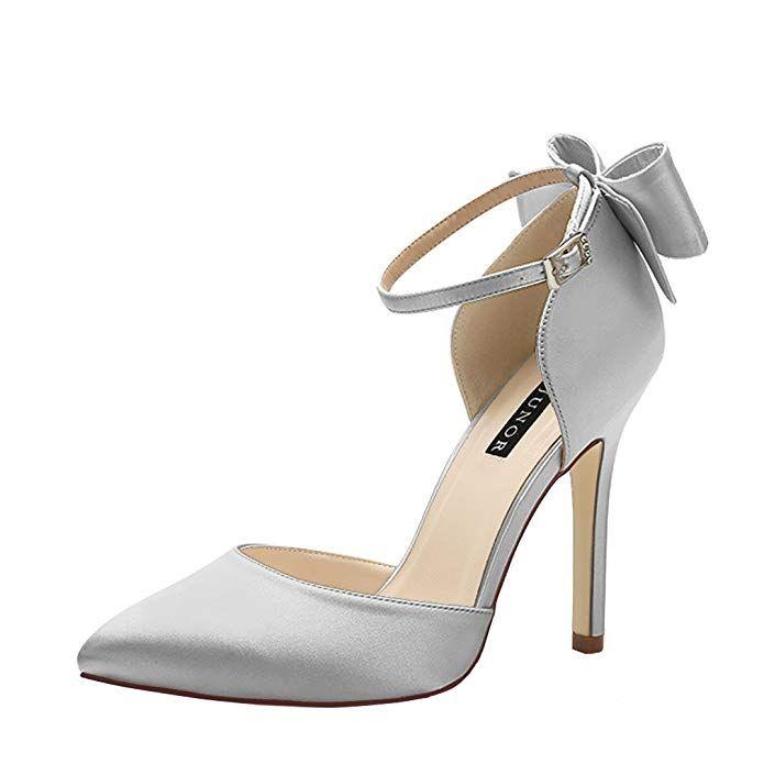 e68fa0248680a ERIJUNOR E1966A Women High Heel Bow Ankle Strap Evening Party Dance ...