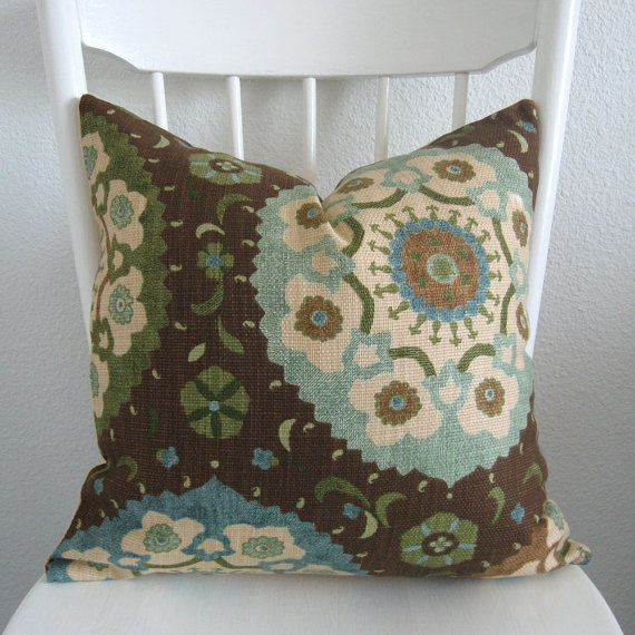 Decorative pillow cover 20x20 brown blue green for 20x20 living room