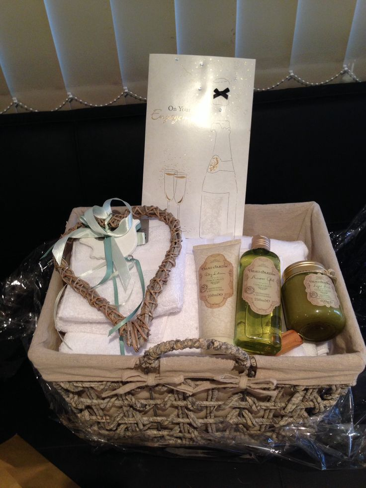 Lovely engagement presents! Towel set in a nice basket!