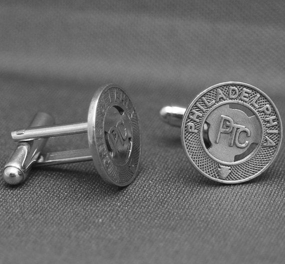 Old Philadelphia public transit tokens upcycled as cuff links