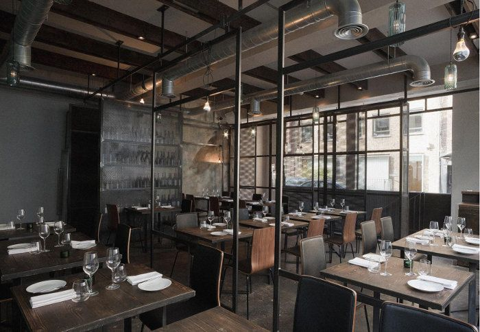 Industrial restaurant bar in london called dabbous for Interior design south london