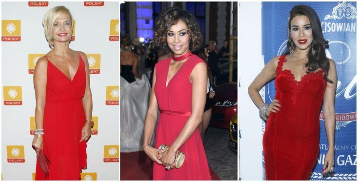 Magdalena Rembacz, Omenaa Mensah i Macademian Girl w czerwonych sukienkach i biżuterii na Walentynki.