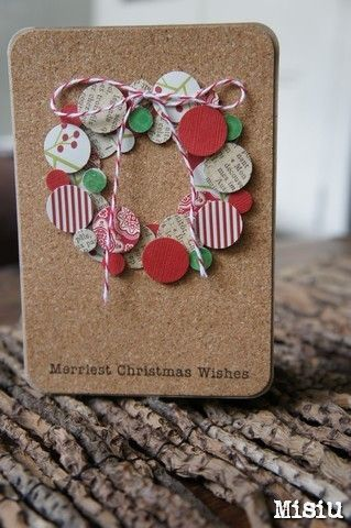 Maybe with buttons, too? ---- Merriest Christmas Wishes Card by Misiu.  If you have not tried adhesive cork, this is a great project to start!  Adhere the cork to a cardstock base, and then make your wreath using a circle punch! Find these supplies and much more at www.cardstockshop.com.
