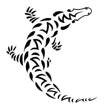 crocodile face pattern   itattooz tribal crocodile tattoo Tribal Alligator Tattoos