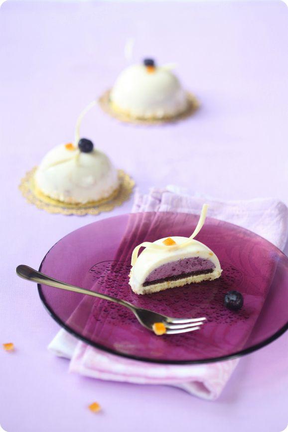 Чернично-апельсиновые пирожные. +Бисквит без муки / Mini tortas de mirtilo e laranja