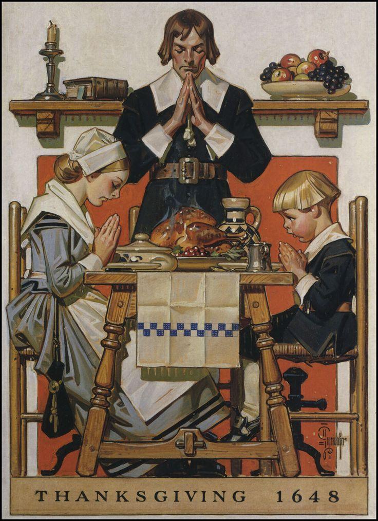 American Weekly Thanksgiving cover, November 1940 by J.C. Leyendecker