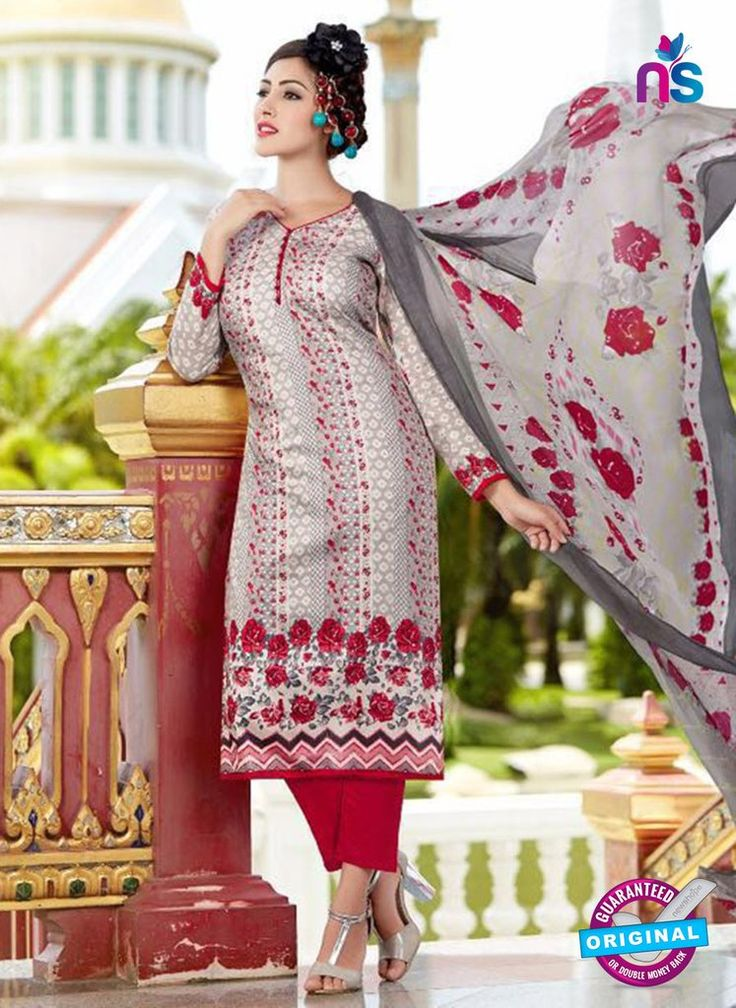 SC 13644 Grey and Maroon Printed Glace Satin Cotton Designer Fancy Ethnic Exclusive Salwar Straight Suit.