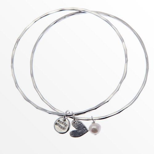 "Rosie Brown Jewellery | Online Shop - Handmade silver and gold collections I have two bangles similar to this. One with a love heart from my hubby and the other with my kid's names. ""These are a few of my favourite things."""